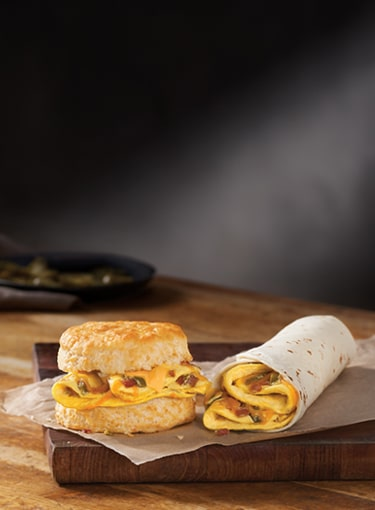 Southwest Omelet Biscuit and Southwest Omelet Burrito